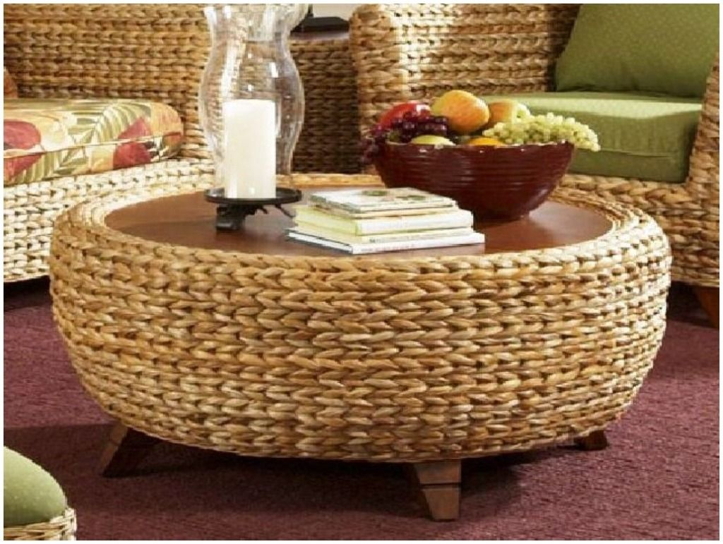 Furniture Seagrass Coffee Table Trunk Beside Brown Sofa Seat With