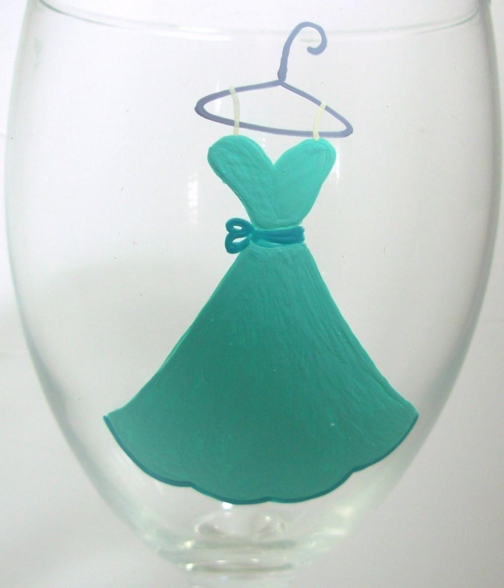 Wedding Attendants Gifts: Bridesmaid Wine Glass Handpainted
