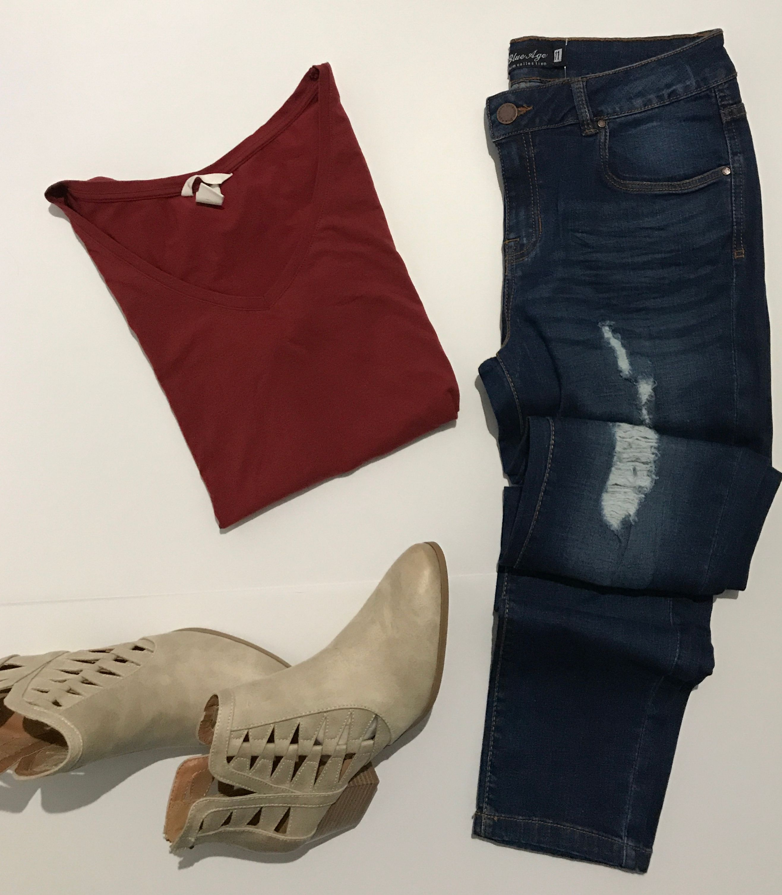Basic Burnt Orange T Shirt From Hm With Distressed Skinny Jeans And Baby Happy Body Fit Pants L30 Taupe Cutout Booties