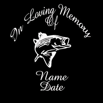 IN LOVING MEMORY WITH FISH DECAL STICKERTRANSFER FISHINGHUNTING - Car window decal stickers sports