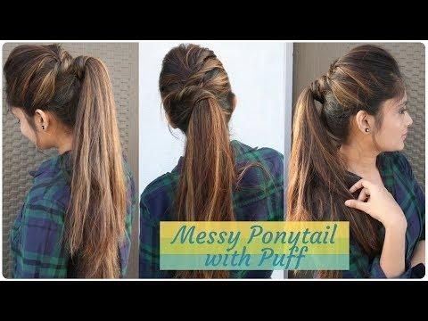 How To Messy Ponytail With Puff Hairstyle Diy Easy Hairstyle For