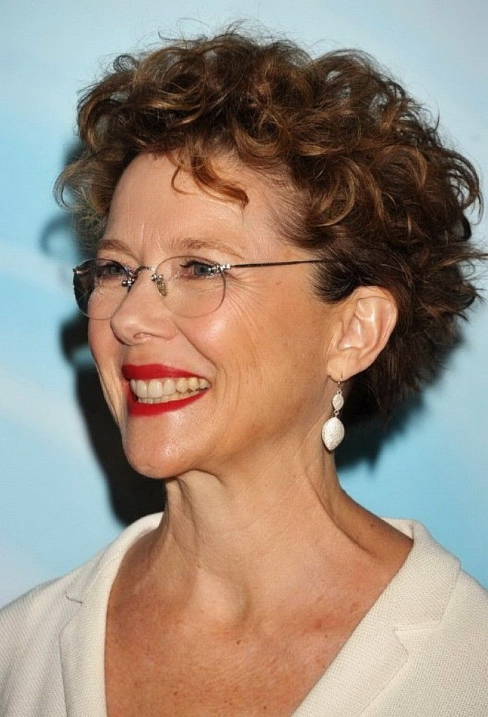 short hair curly hairstyles for women over 50 with glasses