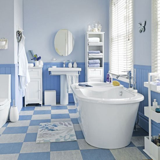 Coastal Style Blue And White Floor Tiles A Cheap And Easy Way To Get A Coastal Style Bathroom Is