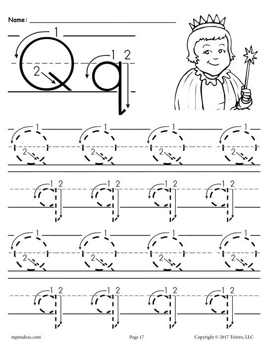 FREE Printable Letter Q Tracing Worksheet With Number And Arrow Guides!