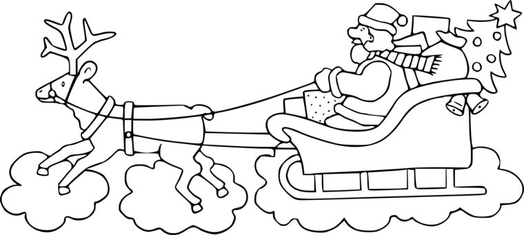 Disegni Di Babbo Natale Da Colorare Slitta Con Regali Renna Che