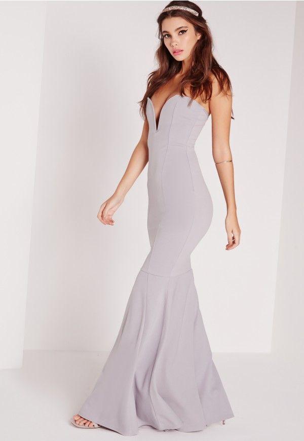 Scuba Bandeau Fishtail Maxi Dress Grey Missguided