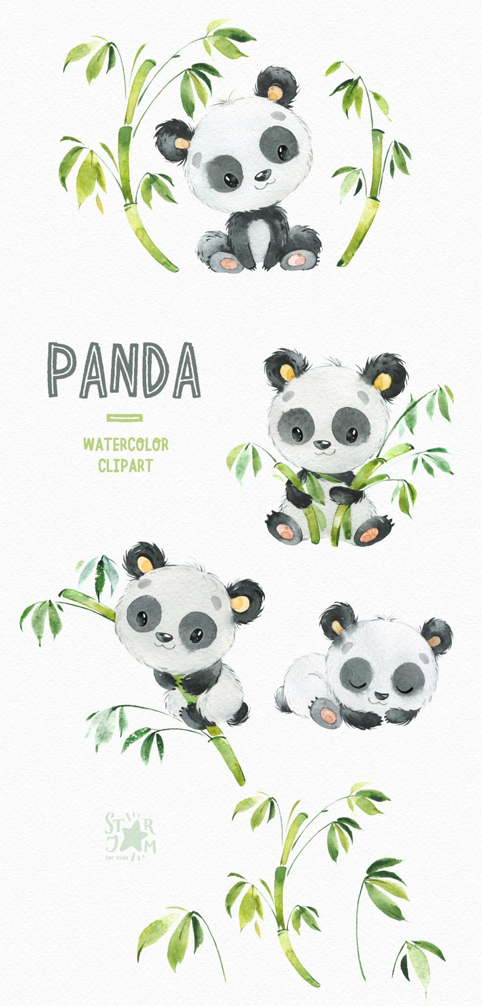 Panda Little Animals Watercolor Clipart Watercolor Bear Etsy Panda Illustration Clip Art Panda Drawing