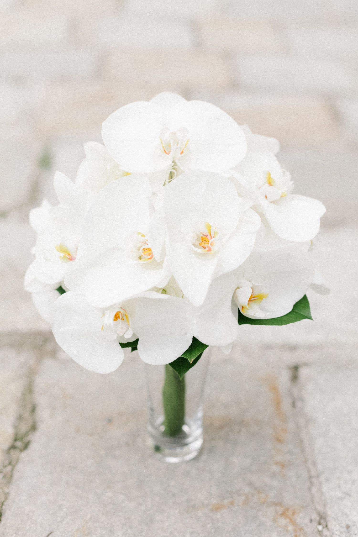 64 White Wedding Bouquets Orchid Bouquet Wedding Flower Bouquet
