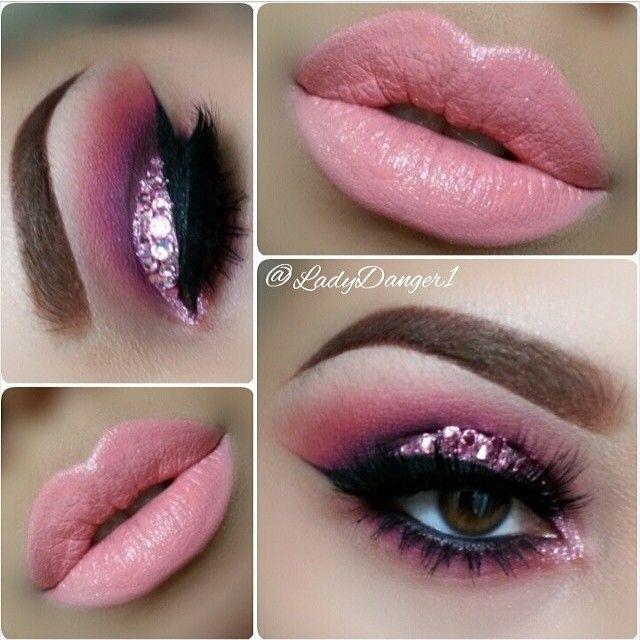Beautiful pink and purple makeup