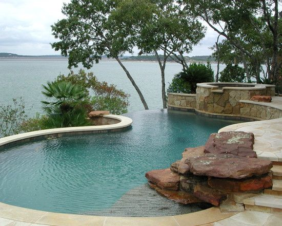 Texas hill country landscape rock design pictures for Country pool ideas