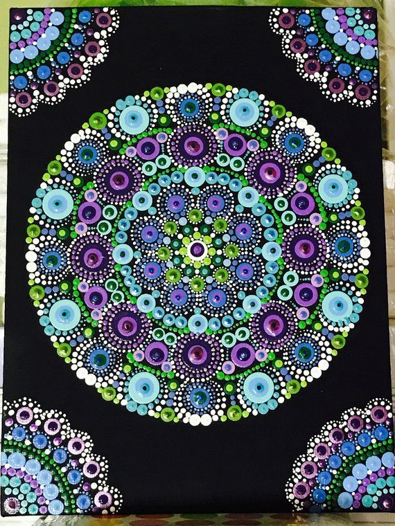 Hand Painted Dot Mandala on 9