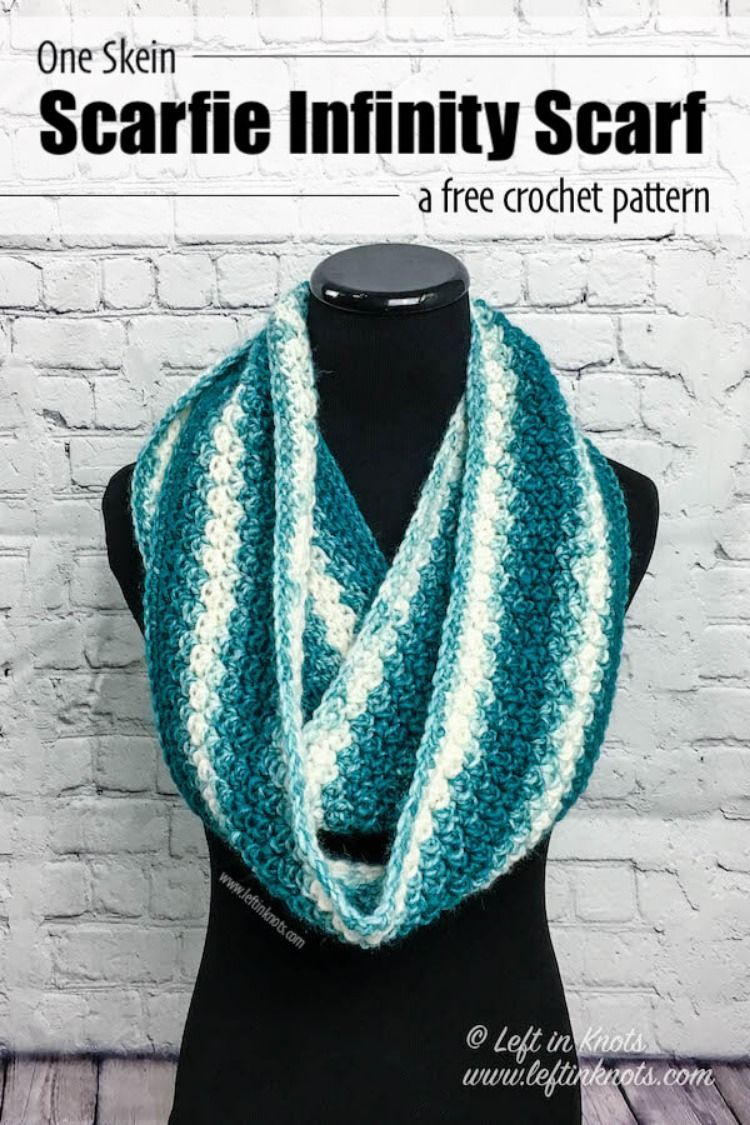 4a397437794af FREE CROCHET PATTERN: Use this free crochet pattern to make a beginner  friendly and fast infinity scarf with just one skein of yarn.
