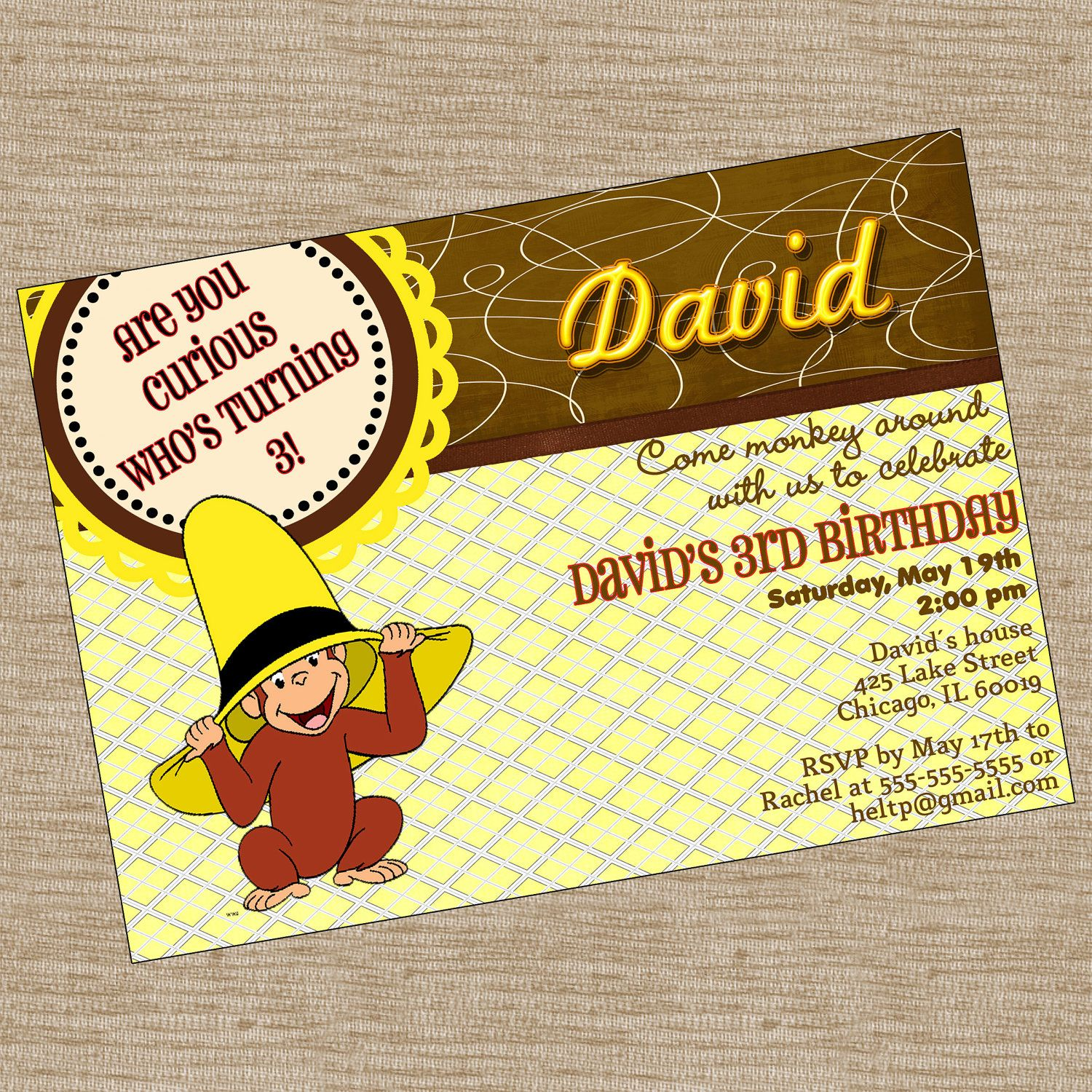 Curious George Birthday Party Invitation Printable Invitation