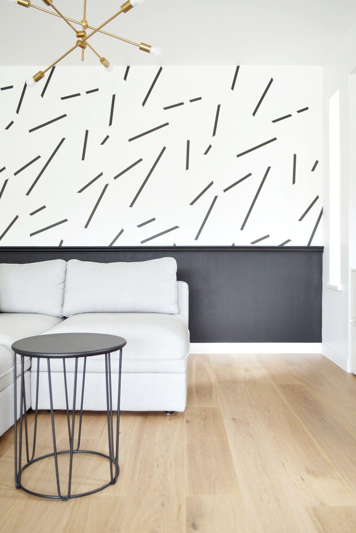 Diy Wallpaper Wall Art Masking Tape Black And White Living Room Makeover Living Room Redo Black And White Living Room Accent Walls In Living Room