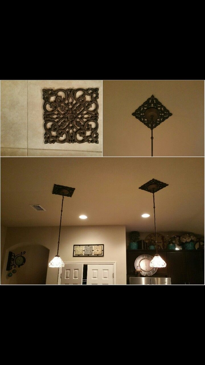 Pendant plate didnut quite cover recessed light hole had these