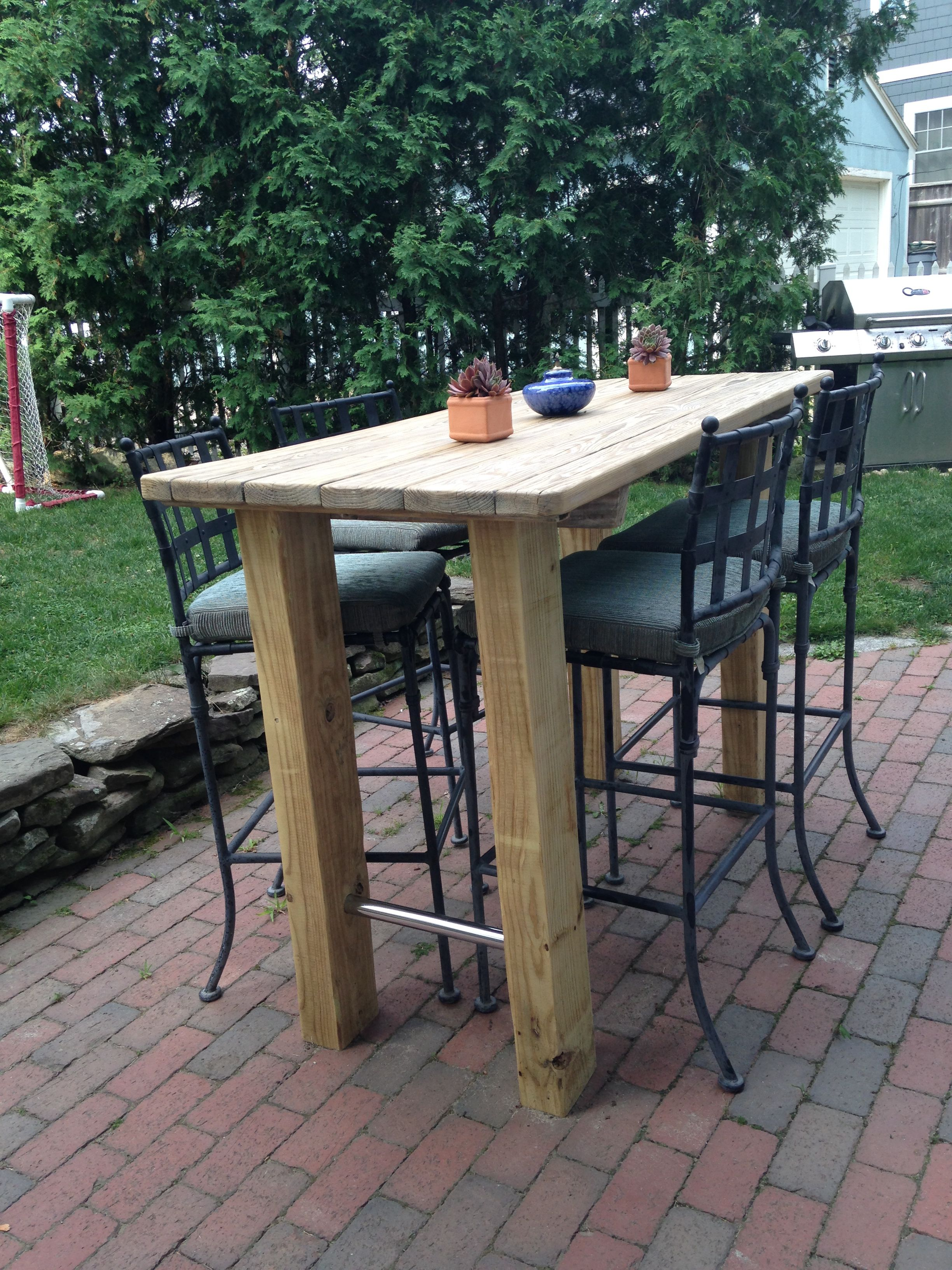 we wanted a bar height table so found an old picnic table rh pinterest com Patio Pub Set Patio Pub Set