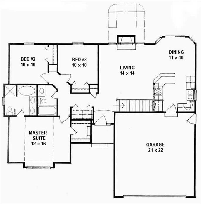 Ranch Home With 3 Bdrms 1162 Sq Ft House Plan 103 1009 Tpc Floor Plan Design Ranch House Plans Ranch Style House Plans