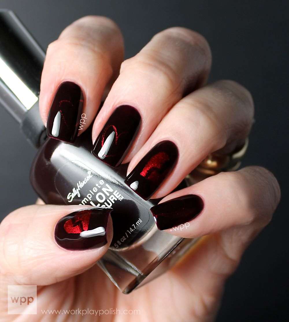 Dark Valentine Nails with Sally Hansen Pat on the Black and a ...