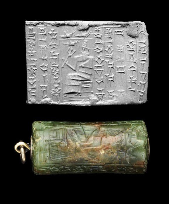 Kassite Green Agate Cylinder Seal - Circa 1400-1100 BC