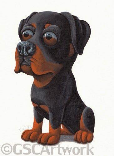 Rottie Rottweiler Dog Puppy Pet Animal Cartoon Caricature Art
