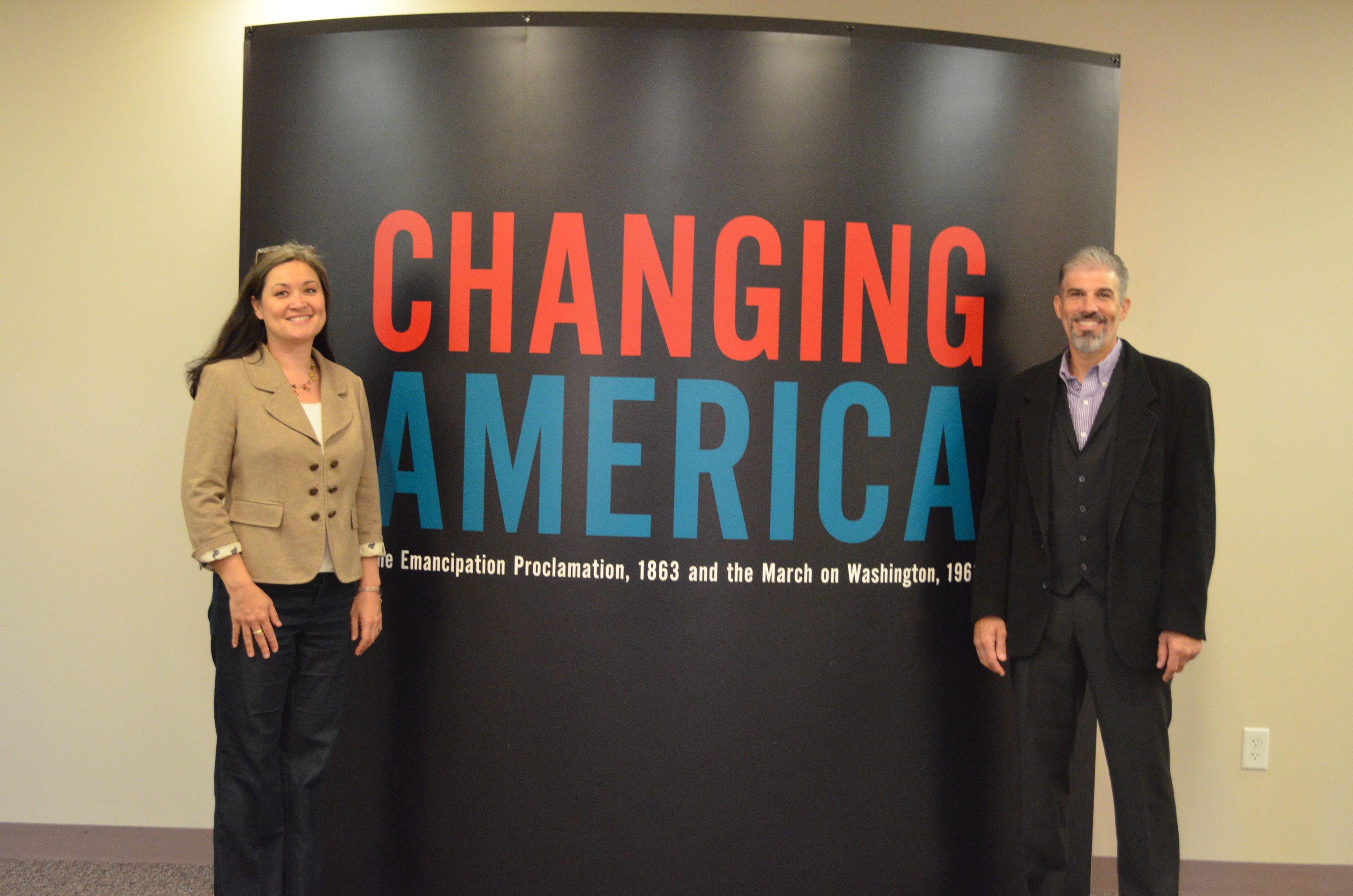 Dr Matt Warshauer And Wanda Warshauer At Changing America Exhibit Series Opening Day Saturday November 1 2014 Avon Public Libr America Exhibition Change