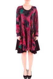 28bb4994 Bohéme chick rød kjole med print i A-facon str. 54-56 | Dame modetøj ...