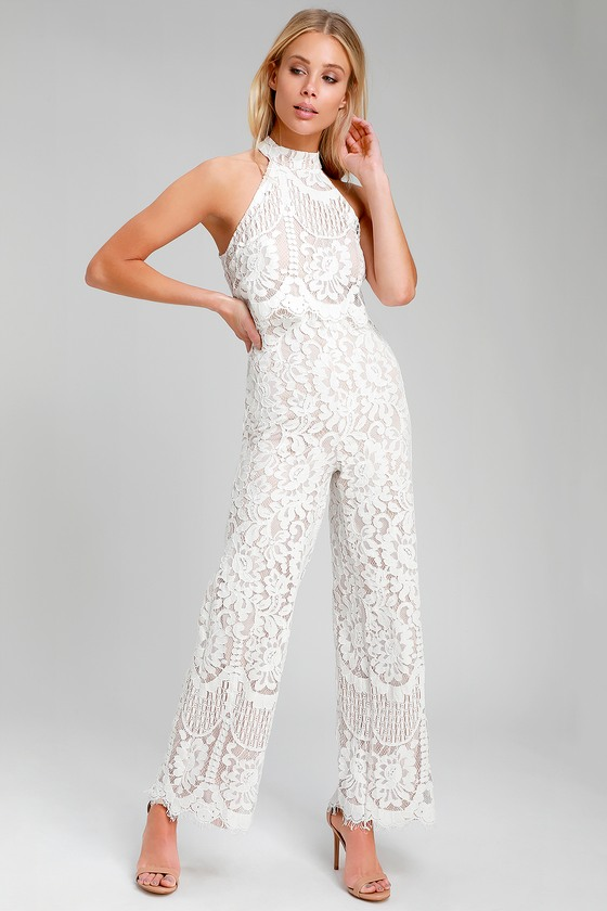 bd8044bba2 Lulus | Britney White Lace Halter Jumpsuit | Size Large | 100 ...