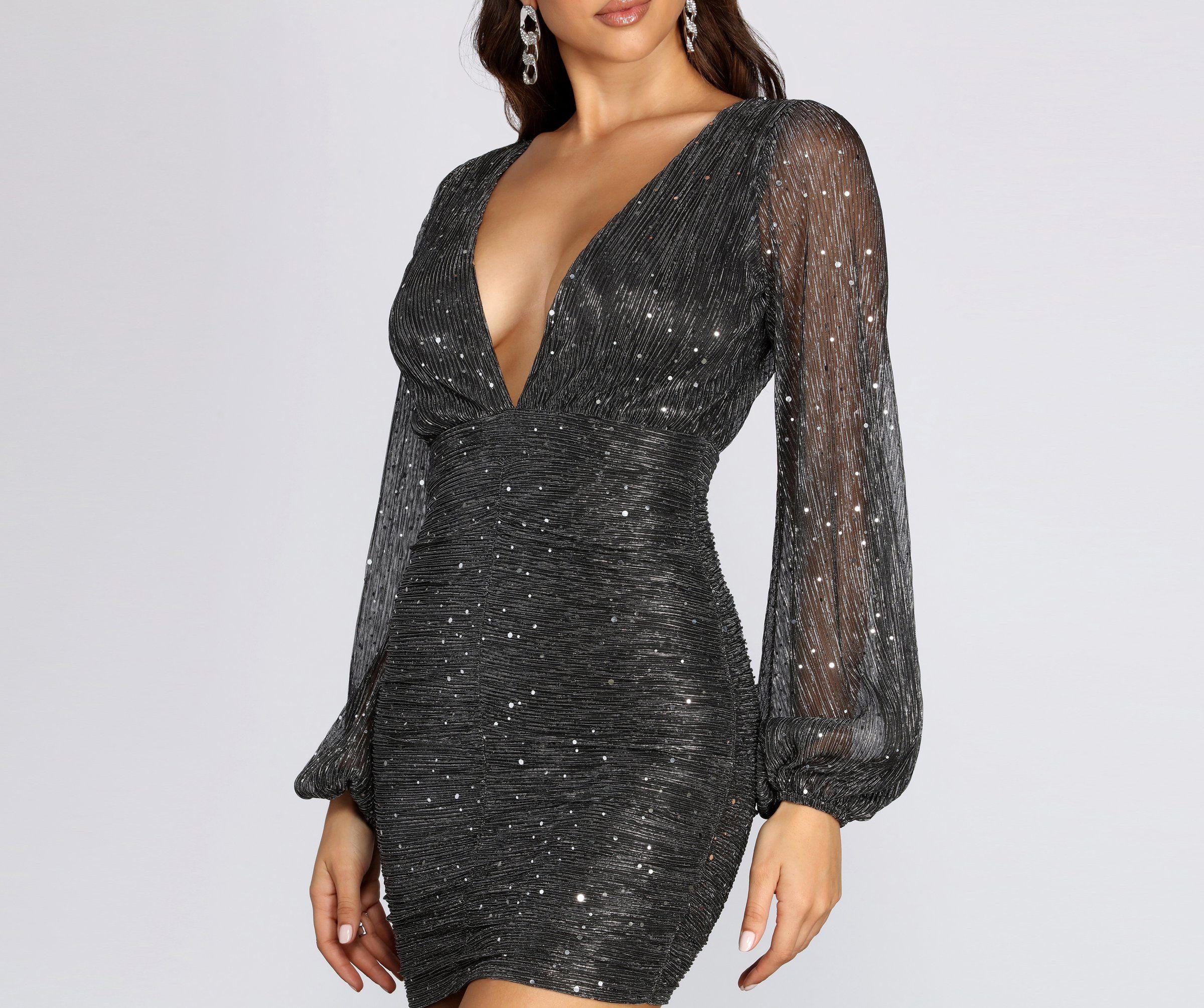 Kayden Sequin Glitter Party Dress In 2021 Glitter Party Dress Party Dress Long Sleeve Cocktail Dress [ 2011 x 2400 Pixel ]