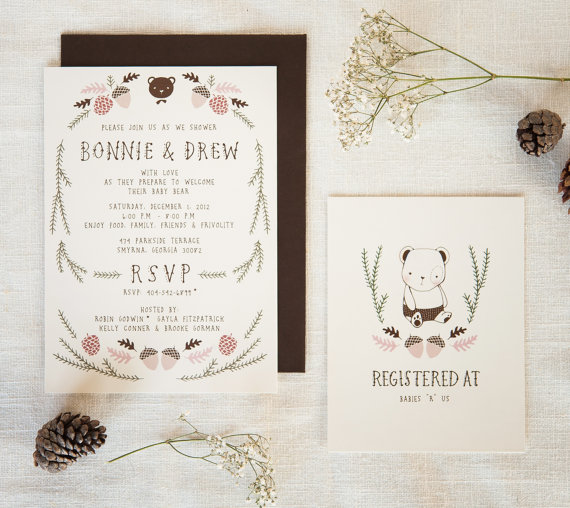 Baby Shower Invitation And Registry Card By KelliMurrayArt