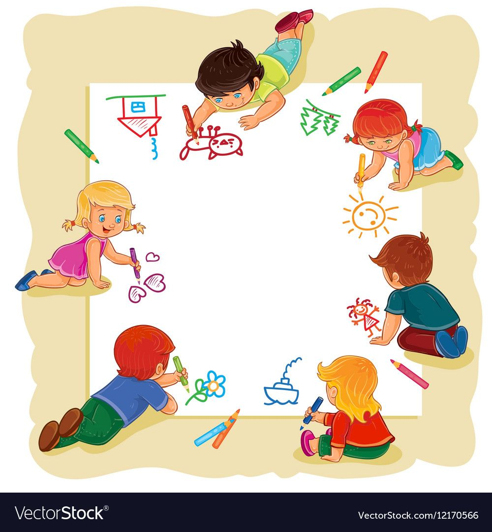 Happy Children Together Draw On A Large Sheet Of Vector Image On Vectorstock Boy And Girl Drawing Drawing For Kids Happy Kids