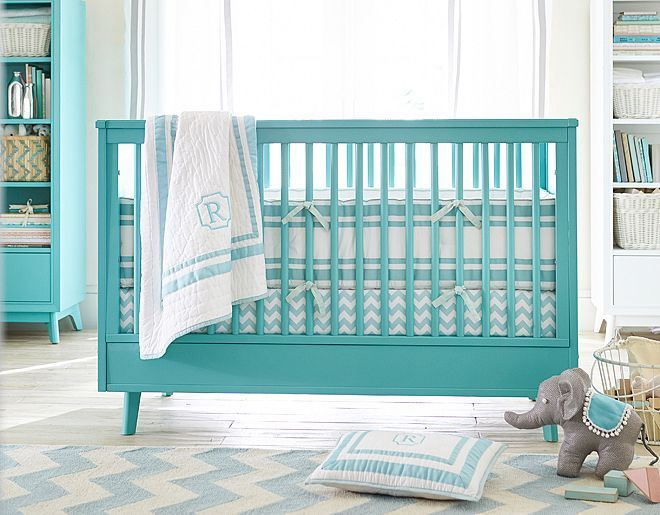 Bright Aqua Blue Nursery Decor Filled With Light And Pops Of Color