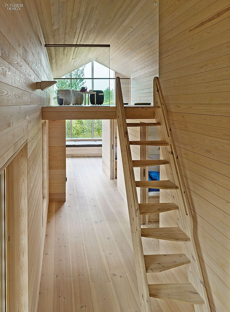Ski In, Stroll Out: Reiulf Ramstad Designs a House for all Seasons in Norway   A mezzanine is reached via a ladder in the bedroom corridor. #projects #interiordesign #interiordesignmagazine #design #interiors #hallways