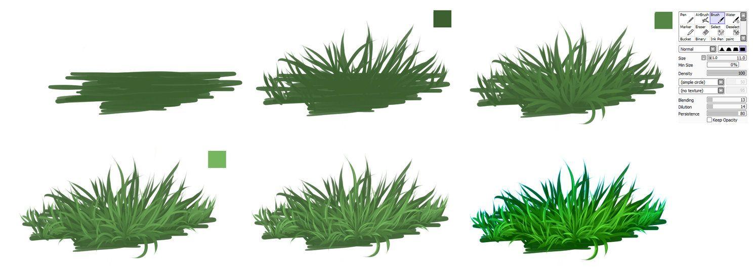 Grass Easy Tutorial By Ryky On Deviantart Digital Painting Tutorials Grass Painting Painting Tutorial