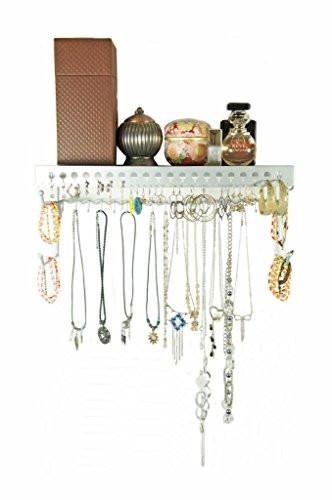Mango Steam Wallmounted Jewelry Organizer Shelf 17 Inch Silver