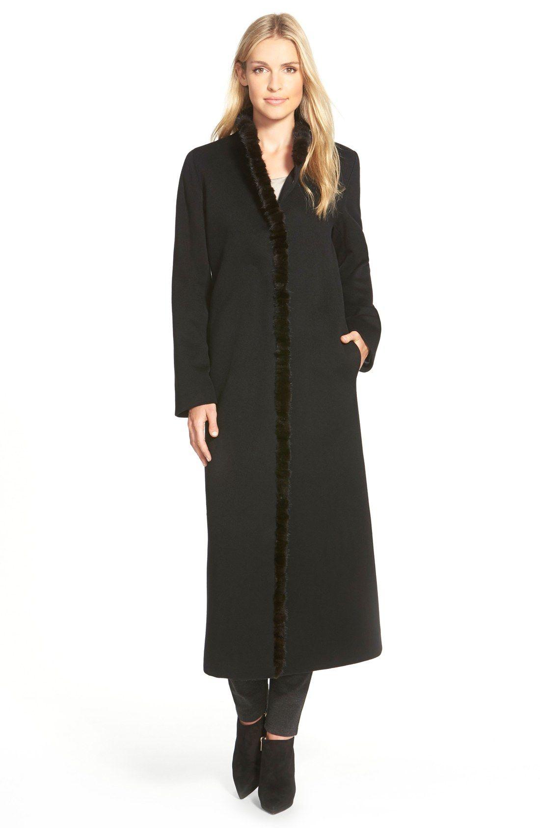 Fleurette Genuine Mink Fur Trim Long Loro Piana Wool Coat (Regular ...