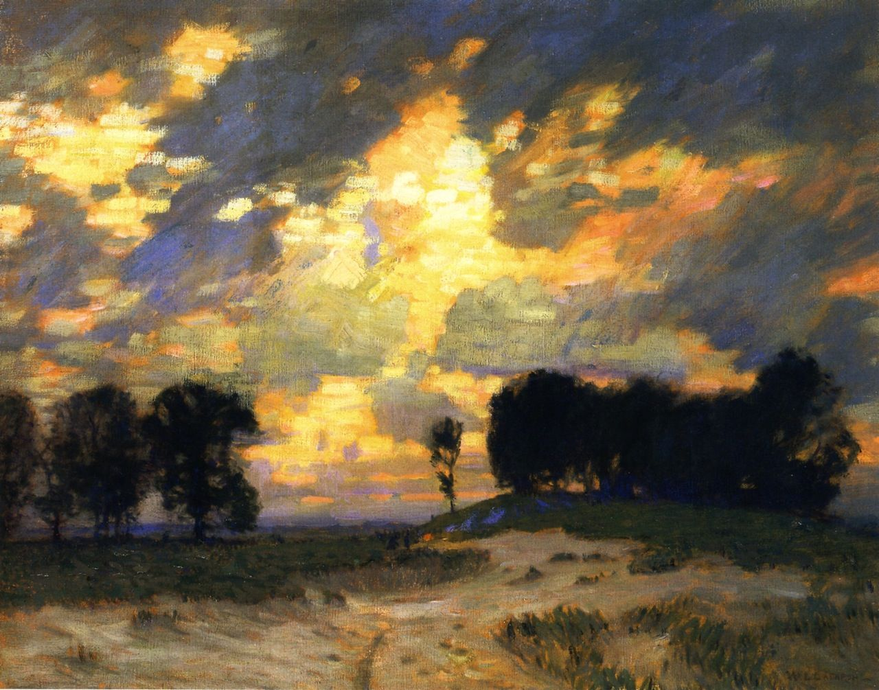 """"""" Bonfire William Langson Lathrop Ca. 1921 Oil"""