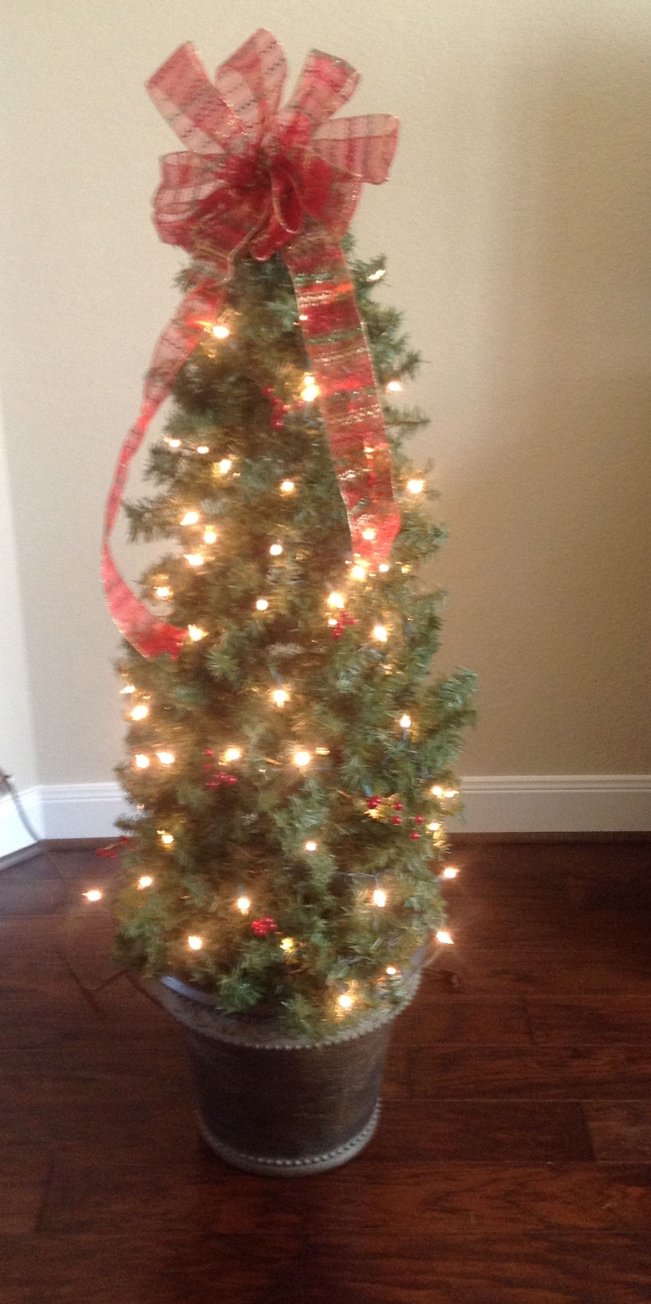 Wrap Garland Around To Ato Cage To Form Tree Decorate