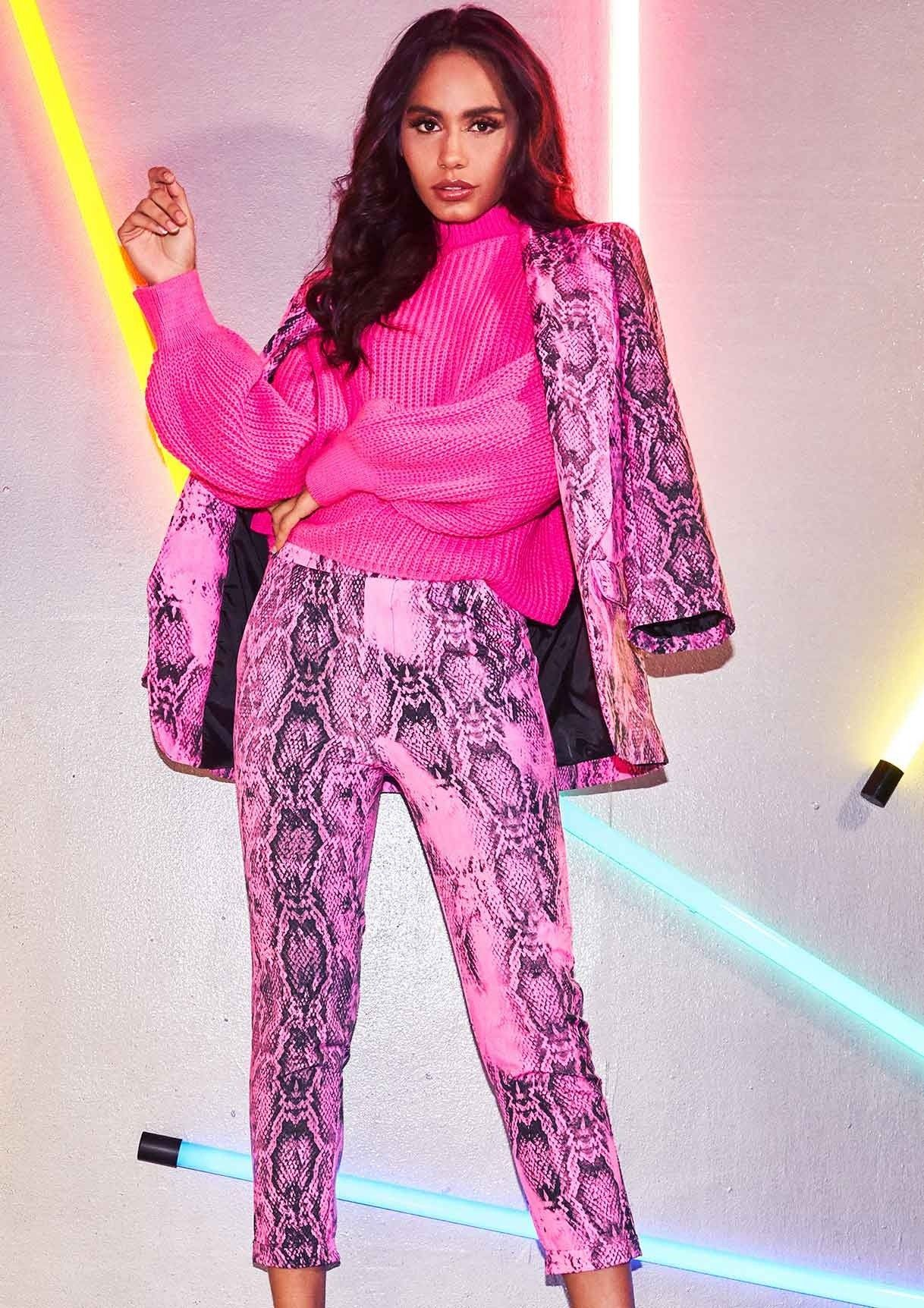 07fc459dfd5d Rachel Neon Pink Snake Print Trousers in 2019   Fashion   Pink snake ...