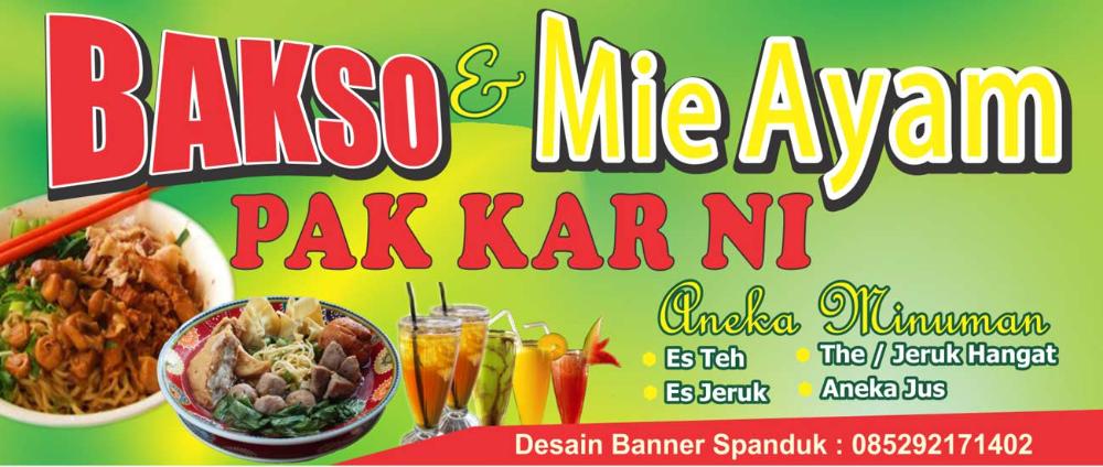 Desain Banner Bakso Mie Ayam Pak Kar Ni Serbabisnis Desain Banner Spanduk Ayam