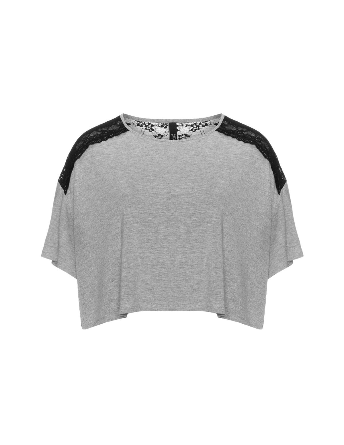 Manon Baptiste Cropped lace t-shirt in Grey / Black