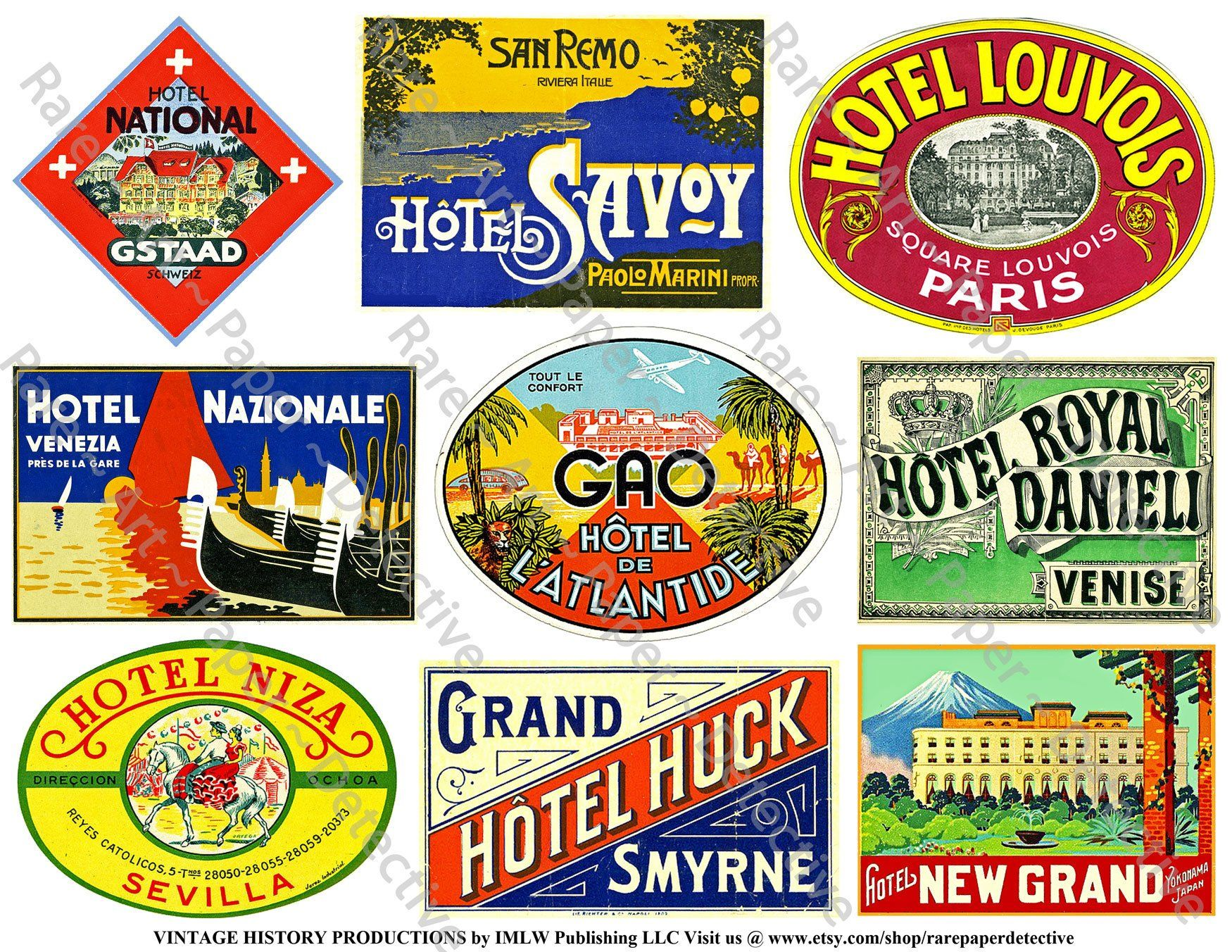 Travel Luggage Labels Printed Sheet Retro Baggage Tag Steamship Travel Trunk Suitcase Decals Travel Journal 763 Hotel Label Art Paper