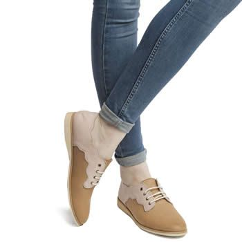 Womens Tan Rollie Derby Scallop Flats | schuh