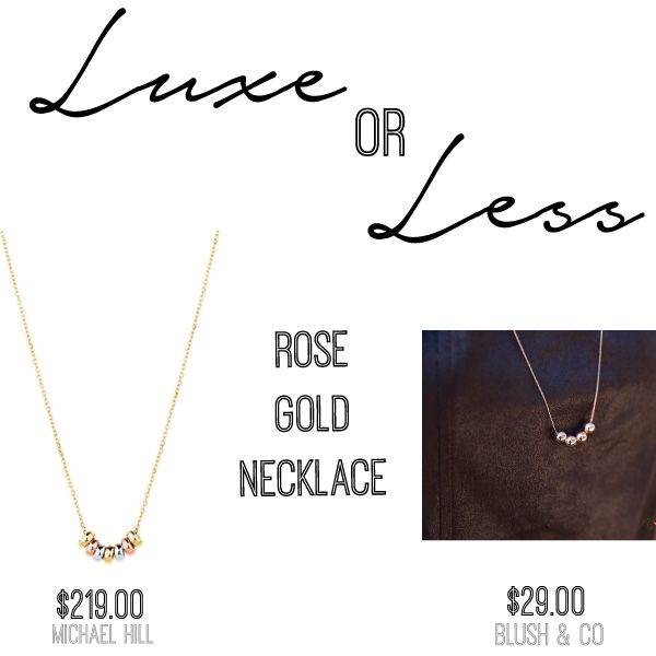 SHOP: Lucky Rings Pendant Necklace $219 Michael Hill Jeweller  |  Blush Of Simplicity 45cm Rose Gold Plated Necklace $29 Blush & Co.