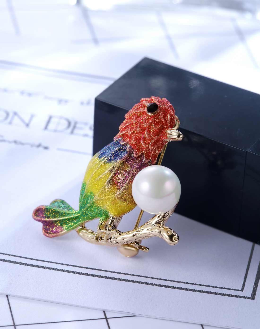 #AdoreWe #VIPme Brooches - Designer Viennois Viennois Colorful Nightingale Shape Imitation Pearl Brooch - AdoreWe.com