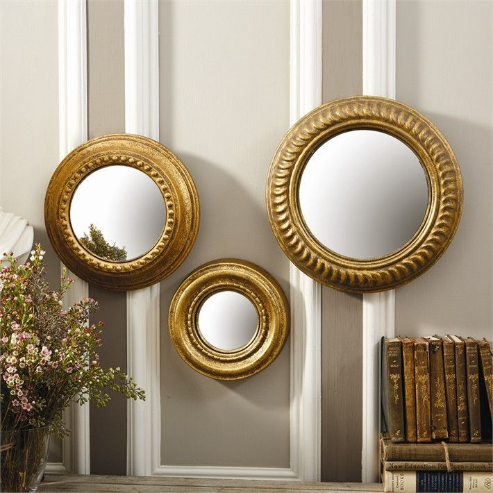 Two S Company S 3 Gold Leaf Round Wall Mirrors Wall Mirrors Set Round Wall Mirror Mirror Wall