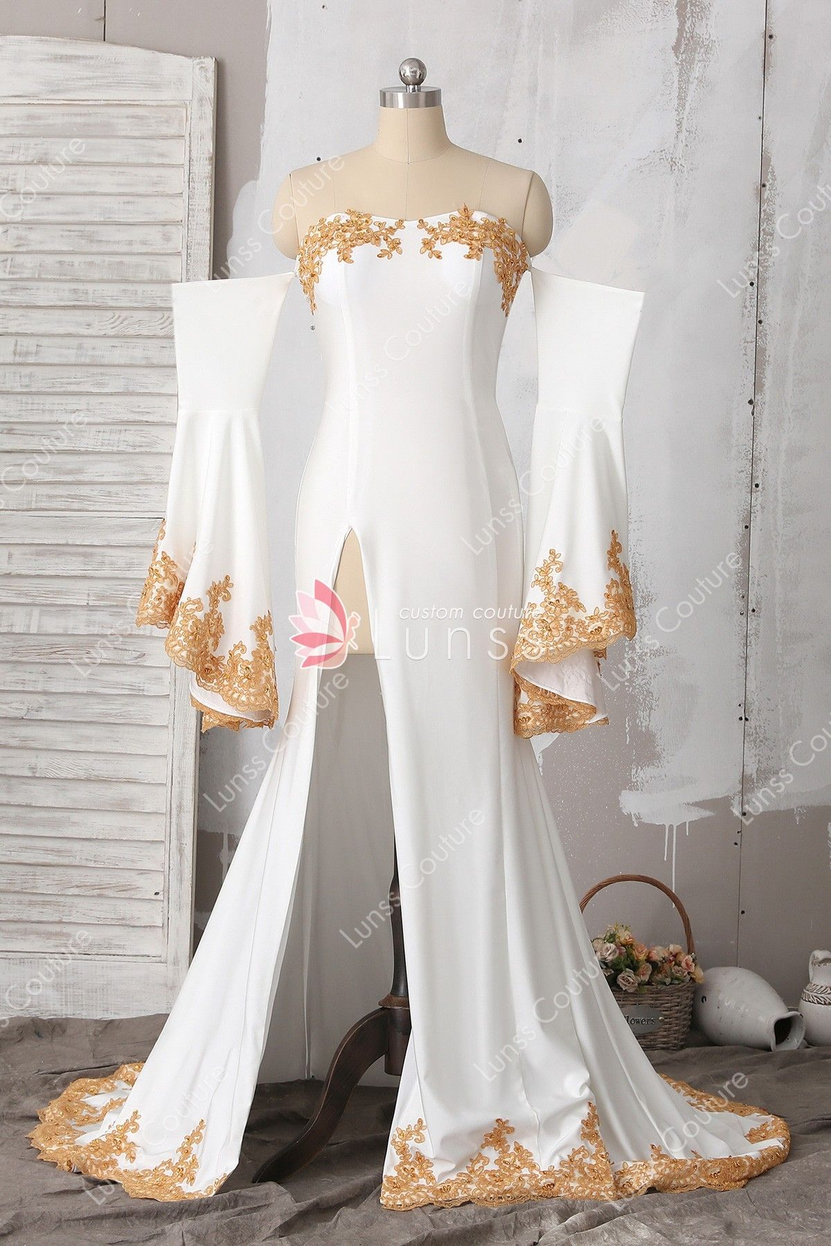 22e46844bd2 Ivory Off-the-Shoulder Long Bell Sleeve Lace Jersey Mermaid Prom Dress