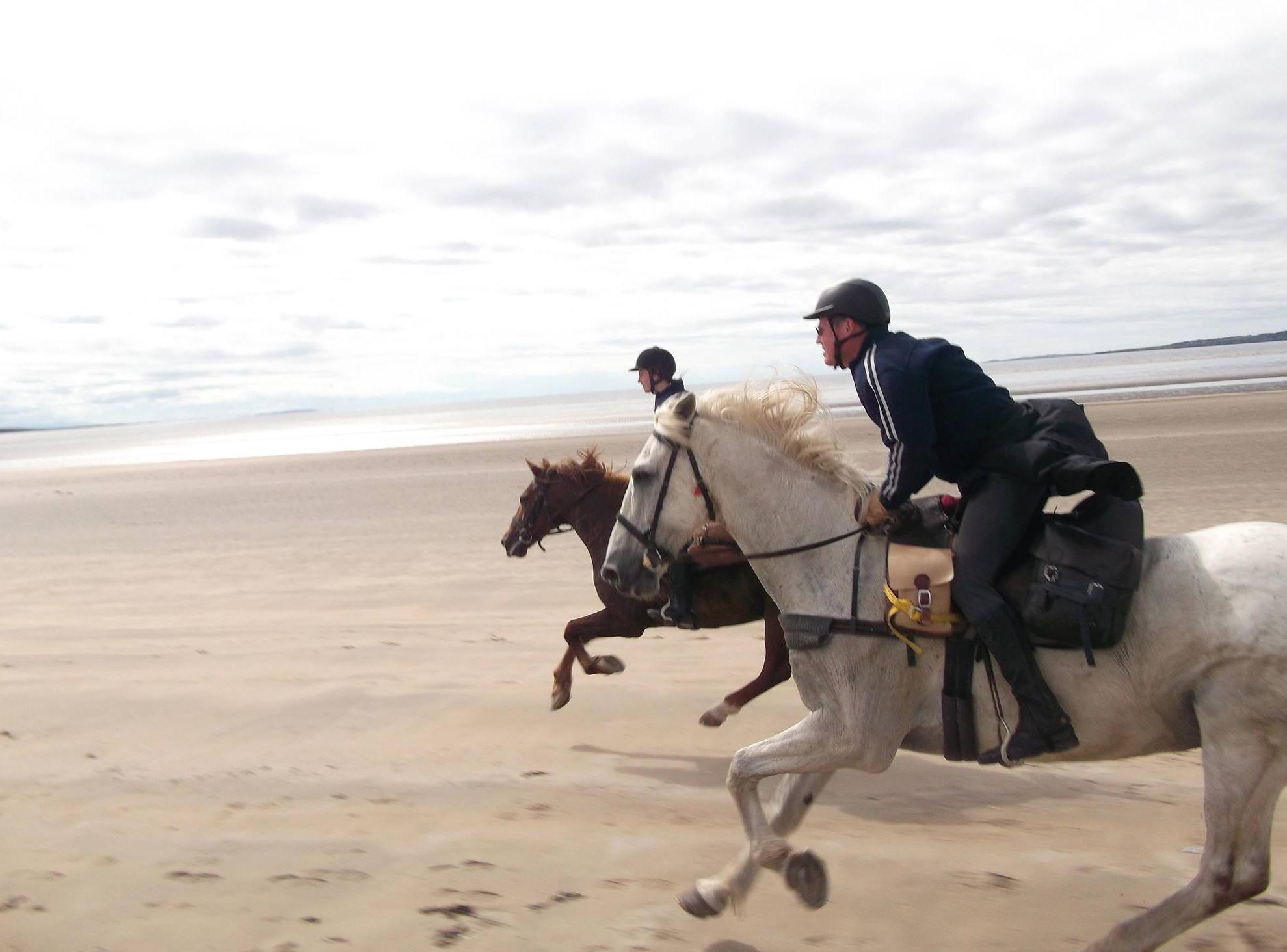 Al galoppo sulla spiaggia; Irlanda.