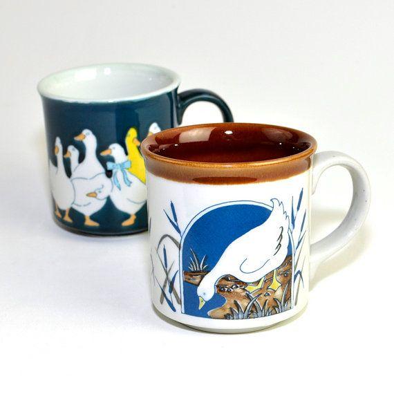Vintage Geese Coffee Mugs Glazed Ceramic In Blue Brown