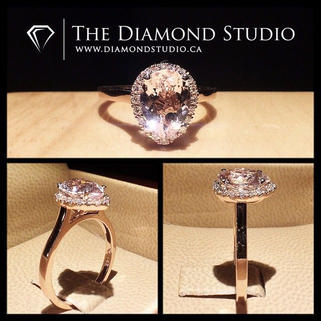 Something like this. 9 x 6mm center morganite with diamond halo. Thin (1.2 mm) plain rose gold band.