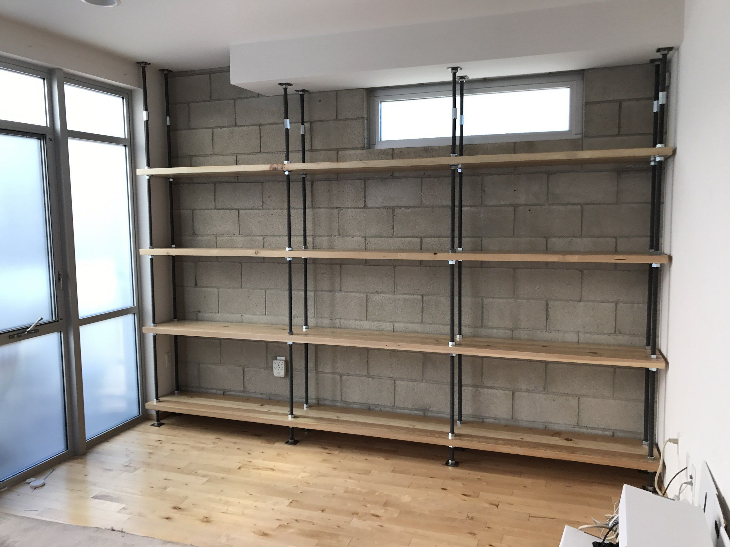 Industrial Built In Bookcases Industrial In 2019 Shelves